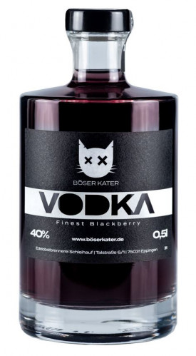 """BÖSER KATER """" BLACKBERRY PREMIUM VODKA """" , 0.5 L.,*WINESCOUT7"""", DE."""