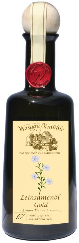 "WASGAU ÖLMÜHLE "" BIO-LEINSAMEN-ÖL GOLD "", 0.5 L.,*WINESCOUT7*, DE"