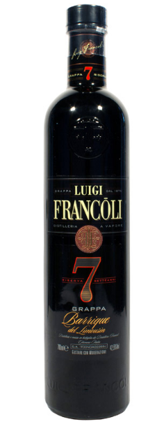 """LUIGI FRANCOLI,"""" GRAPPA RISERVA LIMOUSIN 7 YO. """", 0.7.L., *WINESCOUT7*,ITALIEN-PIEMONT"""