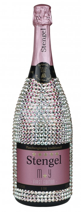 "SWAROVSKI ELEMENTS - HANDMADE BOTTLE "" TROLLINGER MUSKAT ROSE "", FLASCHENGÄRUNG, 0.75 L.,* WINESCOUT7*, DEUTSCHLAND"